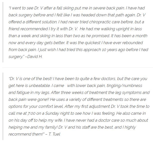 Patient Testimonials at Care Chiropractic in Denver CO